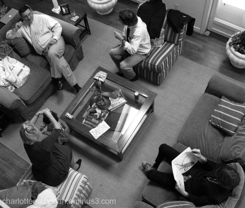 bird's-eye view living-room conversation b-w