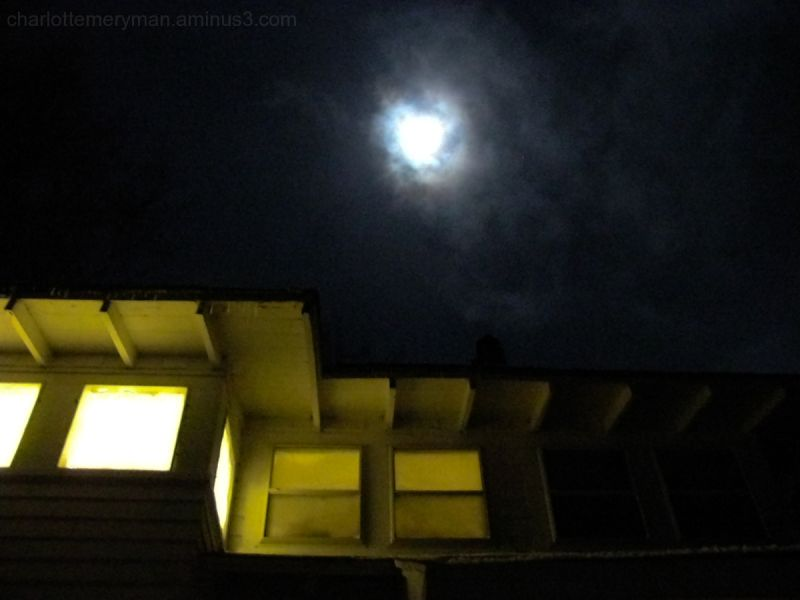 Glowing house with moon