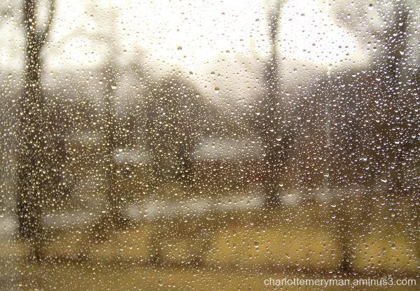 Red barn, wet window