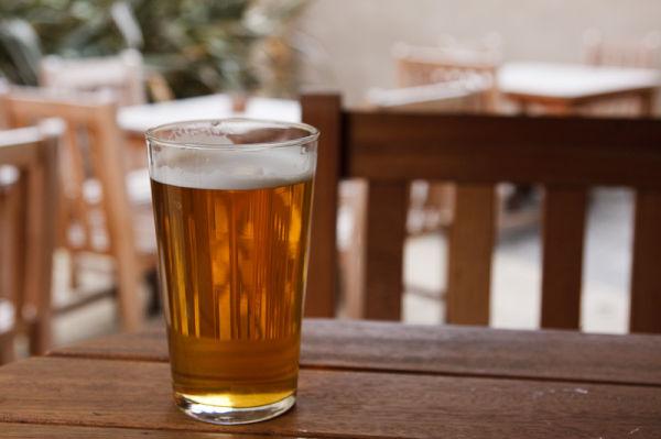 Pint of beer in beer garden