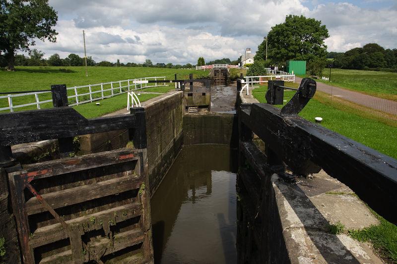 Empty canal at Barrowford locks