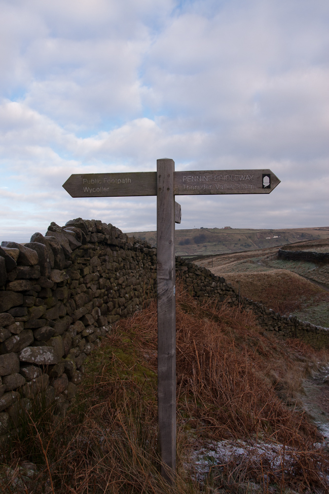Footpath signpost near Wycoller