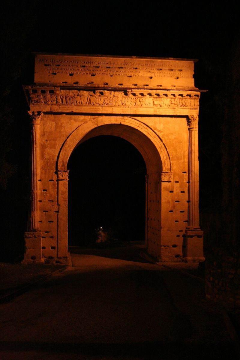 The most beautiful roman arch, in a dark night