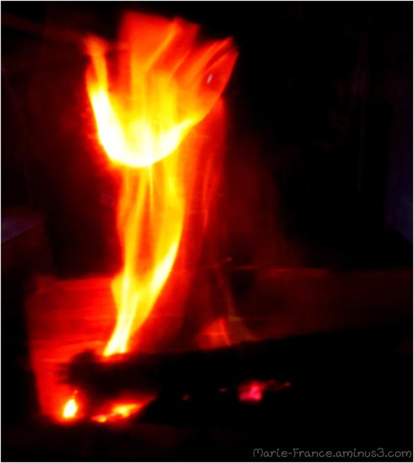 flamme dans un poêle