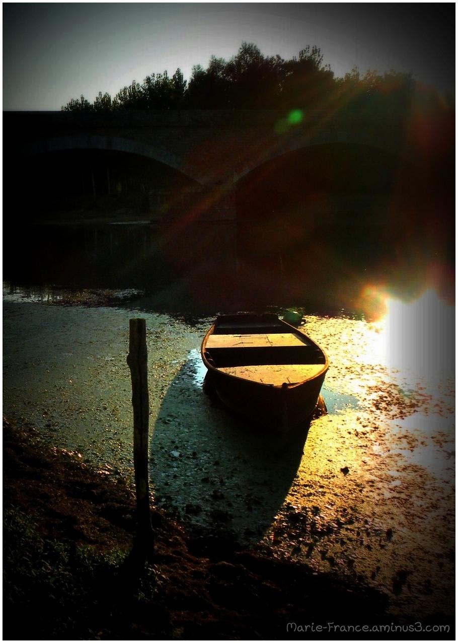 barque dans le soleil du soir