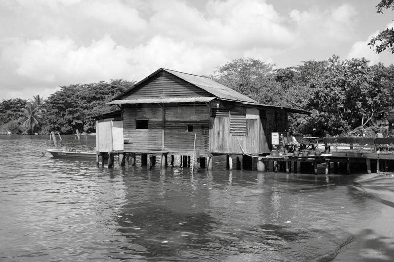 wooden hut at pulau ubin
