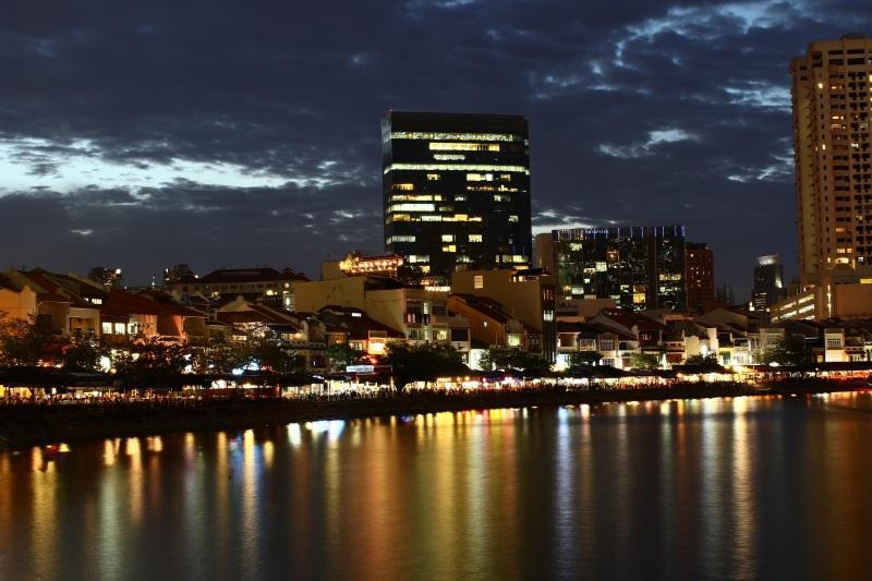 At evening at Boat Quay