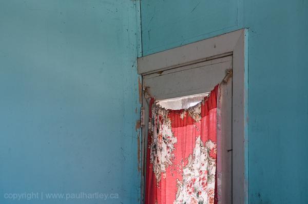 drapes on door window