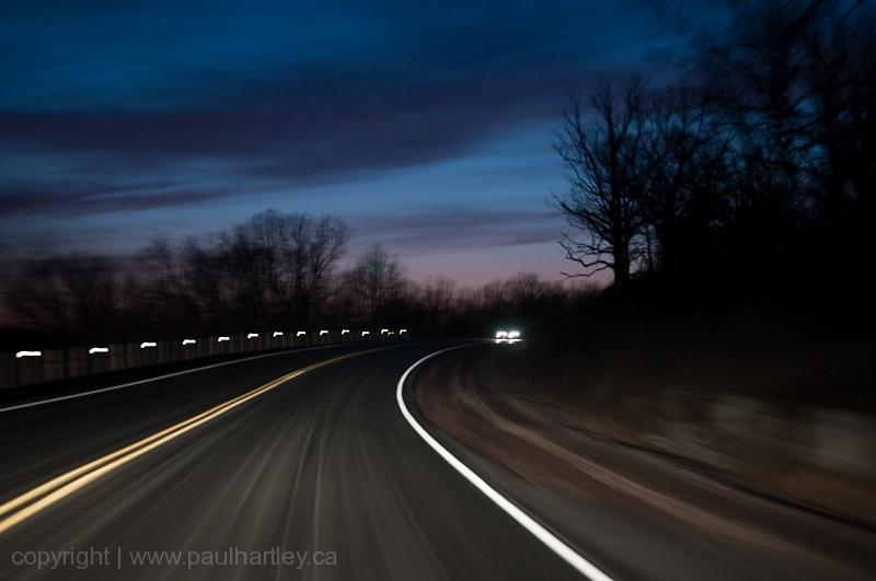 road at night while driving