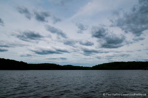 simple landscape blue lake and clouds