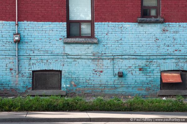 electrical metre meter windows red blue brick