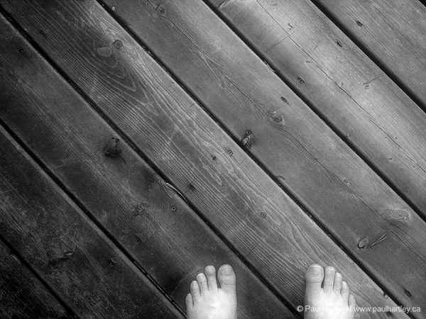 toes on a deck black and white