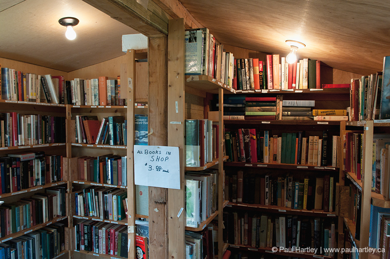 small rural book store shelves and light bulbs