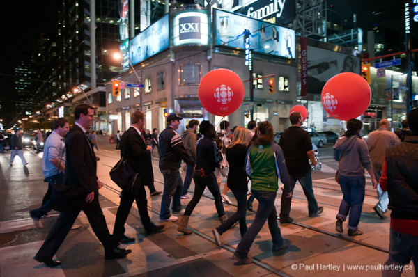 people on yonge street after cbc culture days