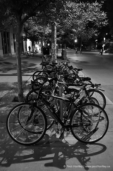 night parked bicycles downtown toronto