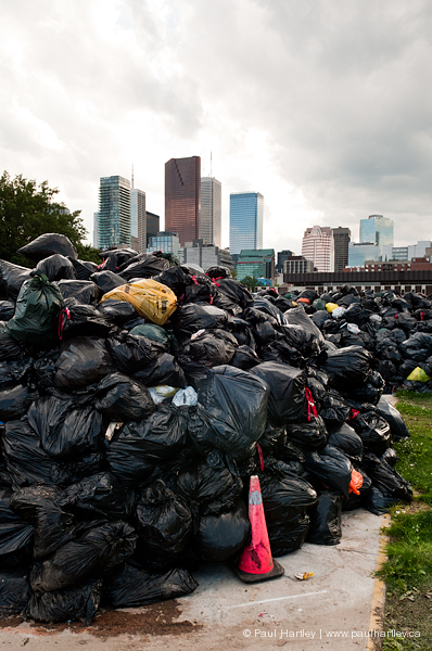 close up of garbage bags during strike toronto