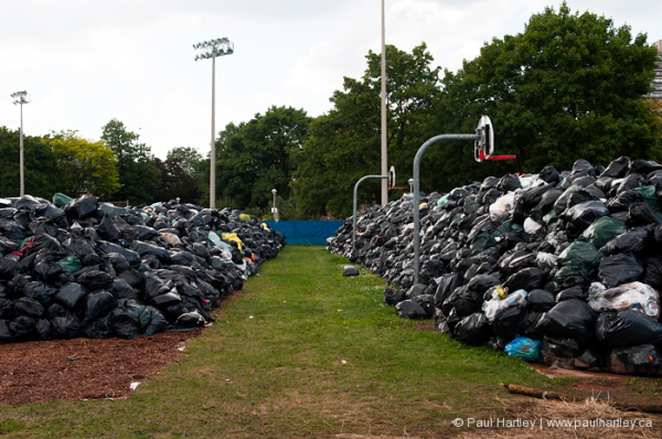 close up of garbage bags during strike toronto