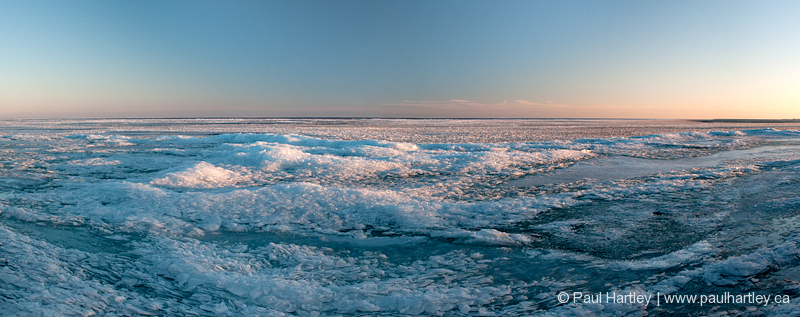 panoramic of icy winter landscape sunset ontario