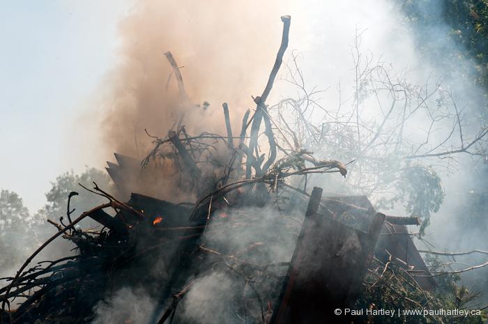 smoke from burning wood