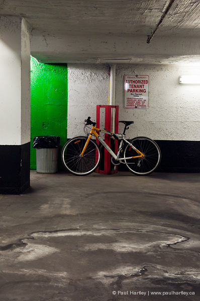 bicycle in underground  parking garage