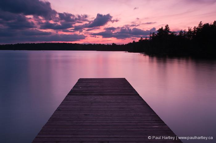 sunset on eels lake dock