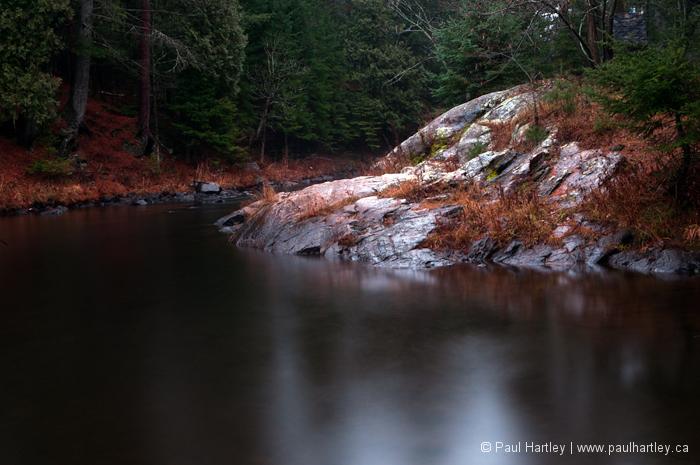 long exposure of creek while raining