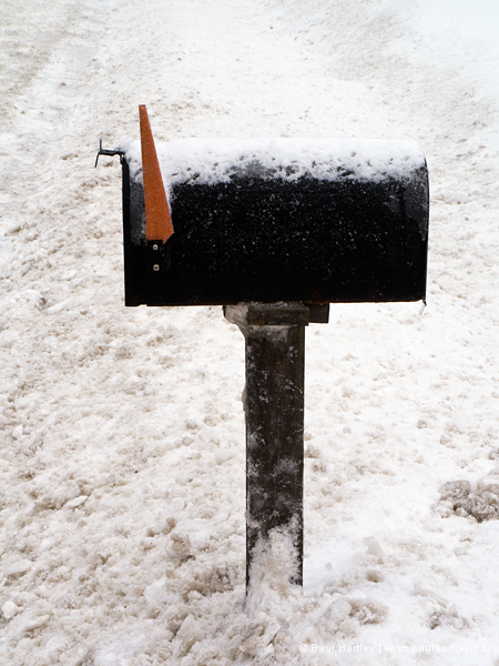 rural mail box in winter