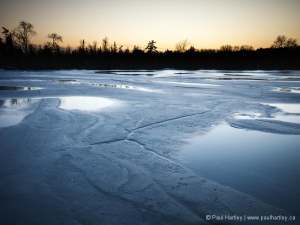 Melting ice at sunset