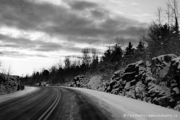 Cold grey winter highway