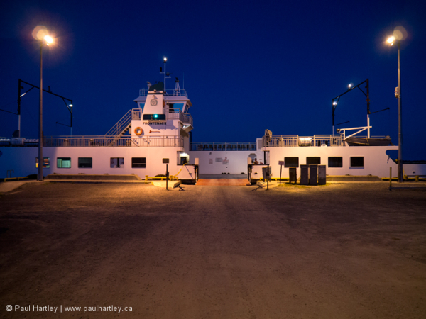 Docked ferry at night