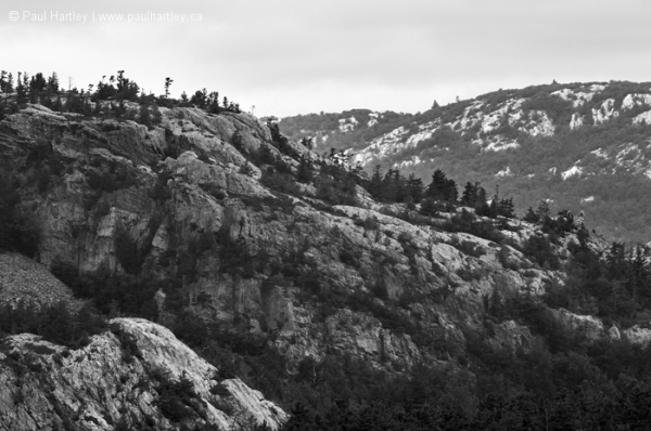 Black and white La Cloche Mountains