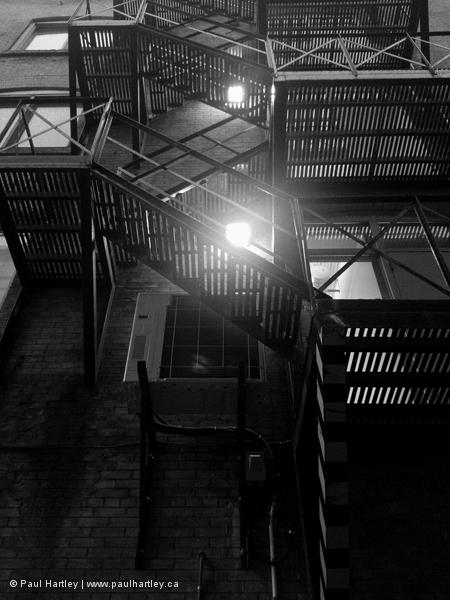 black and white fire escape