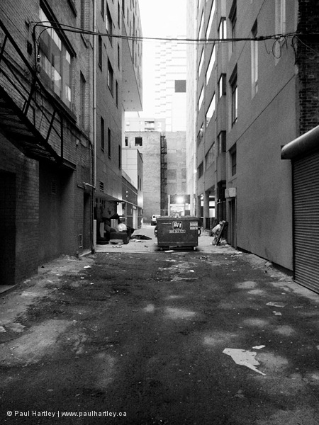 black and white alley