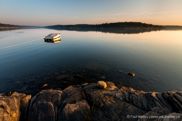 boat at sunset Killbear Provincial Park Ontario