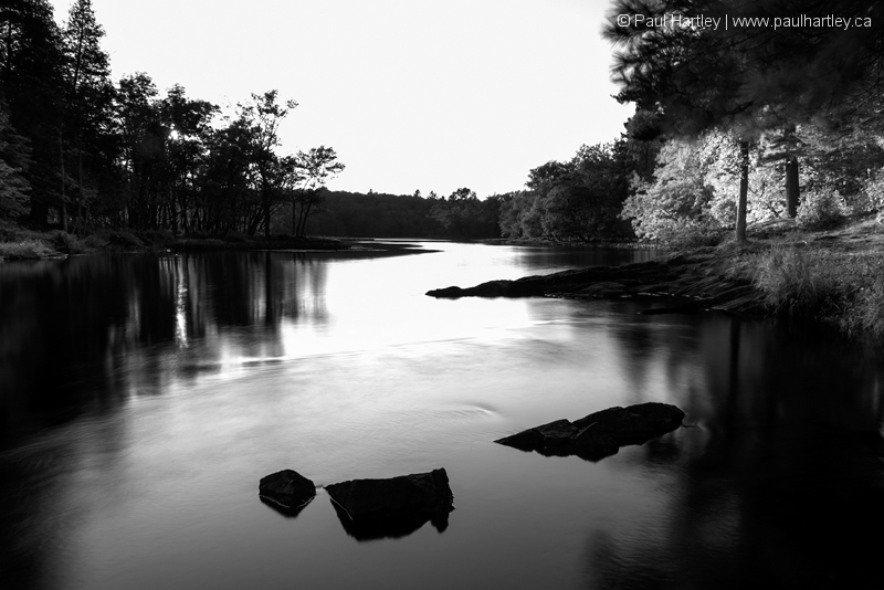 Black and White image of Eels Creek Ontario