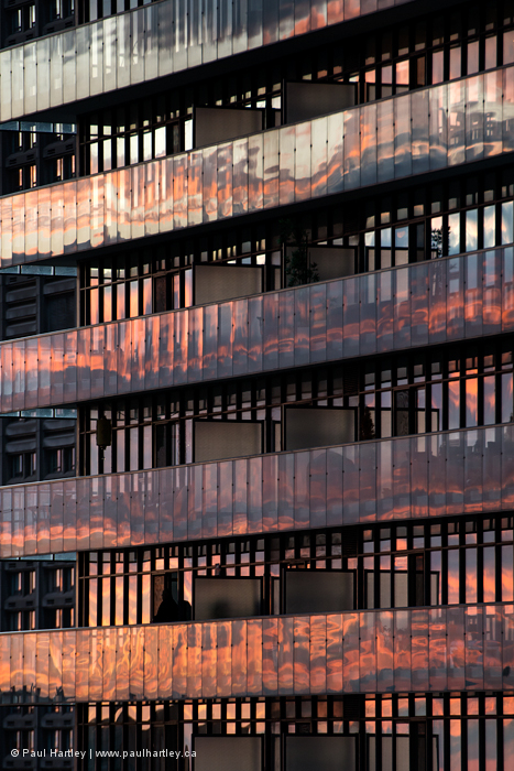 Sunset reflection in balcony glasd