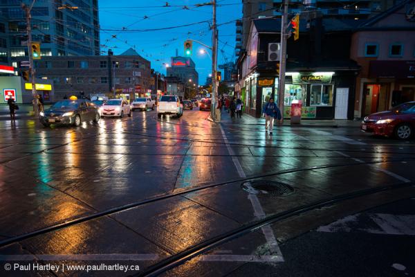 Wet street in Toronto Ontario