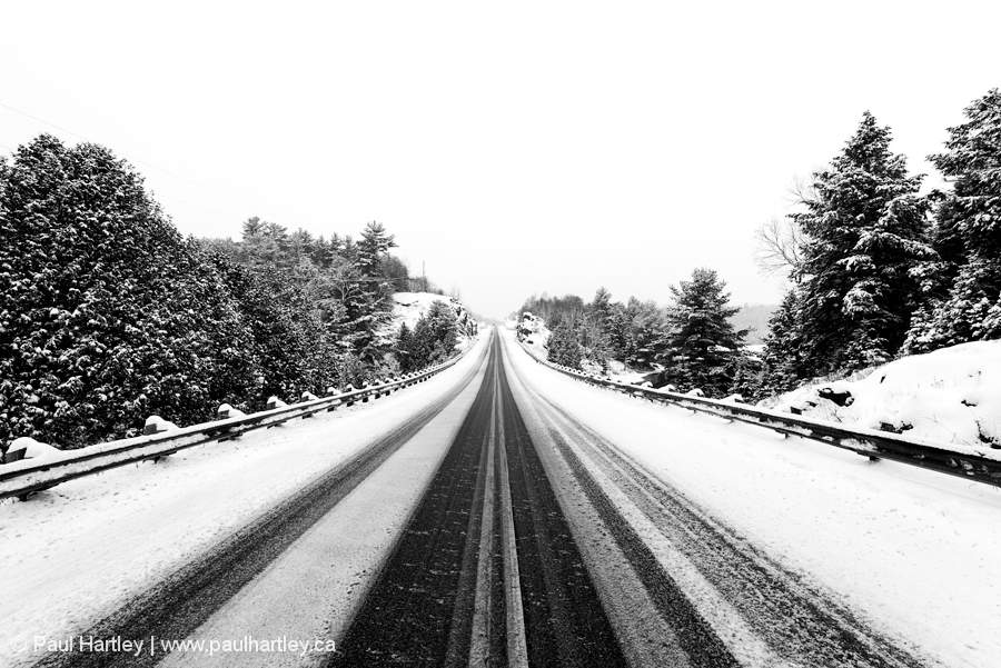 wintery road in Ontario