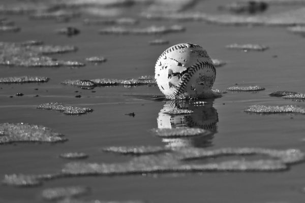 A tattered baseball lays in the ocean in SF