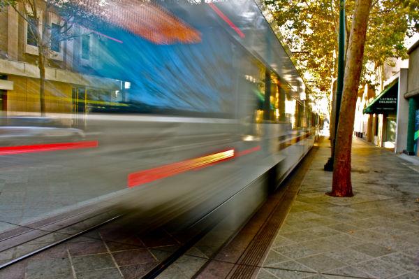 A VTA lightrail in downtown San José, california