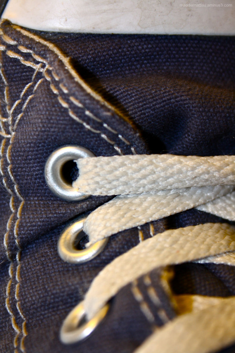 A close shot of a high top converse