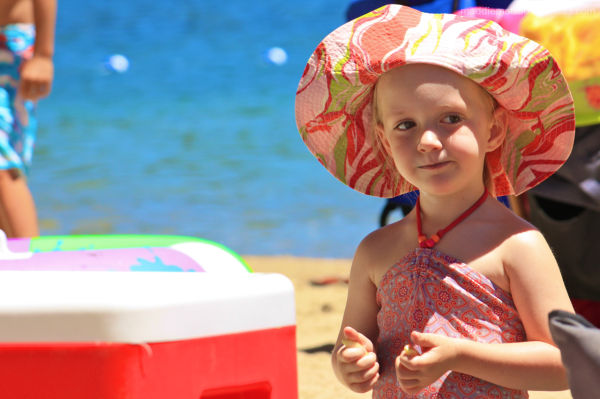 A small girl at the beach donner lake truckee cali
