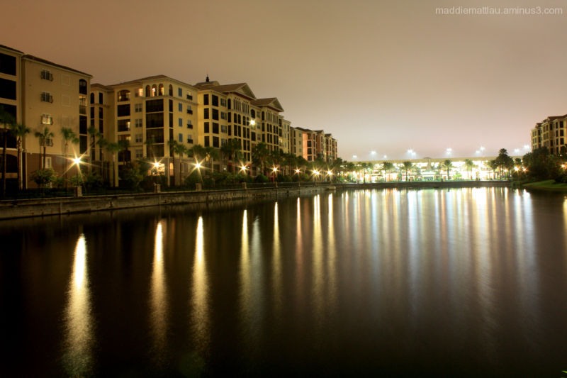 hilton in orlando florida with reflections night