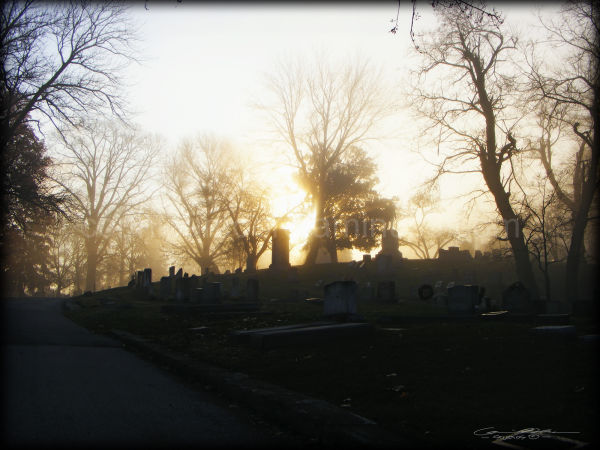 Frankfort, Kentucky cemetery in fog