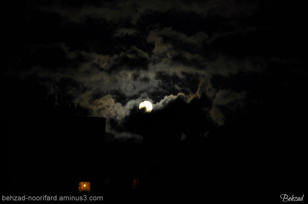 Beautiful moon with clouds