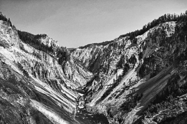 Grand Canyon of Yellowstone NP in B&W