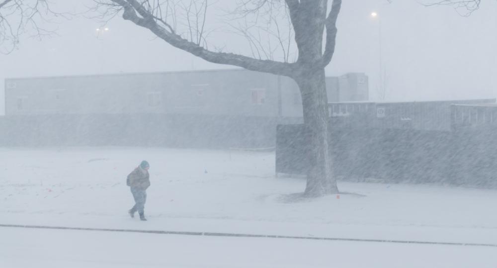 Walking in Snow Storm