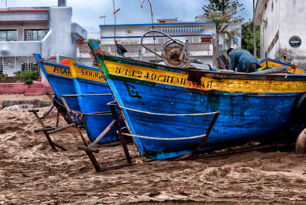 Fishing boats on the beach.