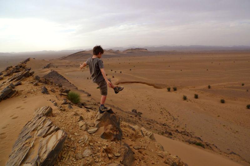 My older son in the desert in Morroco