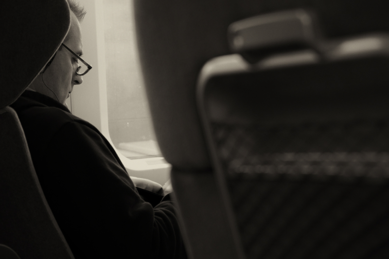 stolen picture of a lonely man in the train TGV